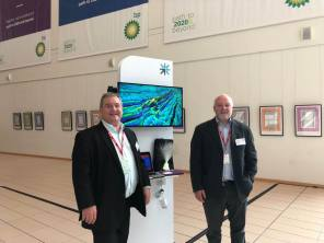 Graham and Victor at TechX BP showcase with 3D image